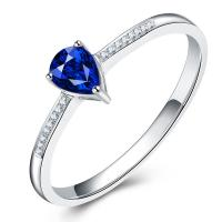 Buy cheap Pear Cut Blue Sapphire Diamond Ring White Gold For Ladies / Women from wholesalers