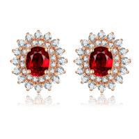 Quality Brilliant 18k Ruby And Diamond Cluster Earrings For Women July Birthstone wholesale