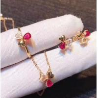 Red Real Gemstone Jewelry Ruby Diamond Wedding Set In 18K Rose Gold