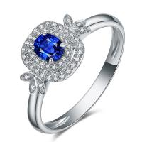 Buy cheap Luxury Sapphire Stone Ring With Cluster Diamond , Blue Sapphire Jewelry from wholesalers