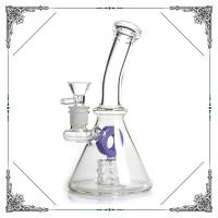 Quality Glass Water Bubbler Holes Perc Heady Mini Smoking Water Pipes American Fluorescence Green and Purple wholesale