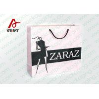 Quality Pretty Custom Paper Shopping Bags With LOGO And Black PP Rope wholesale