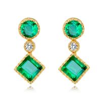 Quality Gold Real Gemstone Jewelry , Green Fashion Emerald Drop Earrings With Diamond wholesale