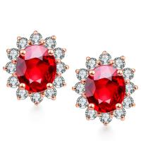 Quality Genuine Diamond Gemstone Jewelry Natural Ruby Diamond Stud Earrings wholesale