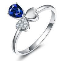 Buy cheap 18k White Gold Blue Sapphire Diamond Ring , Gemstone Jewelry For Women from wholesalers