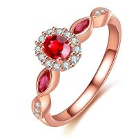Buy cheap Three Stone Ruby Diamond Ring Wedding / Engagement Promise Rings For Her from wholesalers