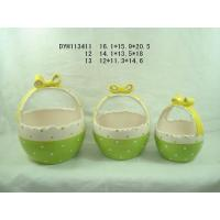 Eco Friendly Green Garden Ceramic Pots / Basket Plant Pot With Handle 12 X 11.3 X 14 Cm