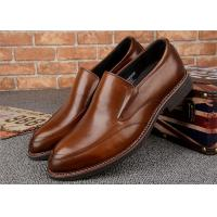 Almond Shaped  Moccasin Toe Classic Dress Shoes Calfskin Leather With Elastic Band