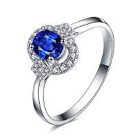 Buy cheap Classic Wedding Natural Sapphire Diamond Ring 18k White Gold For Women from wholesalers