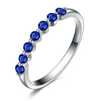 Buy cheap Solid White Gold Sapphire And Diamond Ring Band Blue Gemstone Jewelry from wholesalers