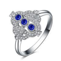 Buy cheap Vintage 18 Carat White Gold Sapphire Diamond Ring For Women Anniversary Gifts from wholesalers