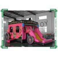 Cheap Pink Inflatable Obstacle Course Bouncy Castles Cinderella Carriage wholesale