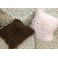 Quality 20 Inch Square White Fuzzy Pillow Cover , Soft Mongolian Fur Lumbar Pillow  wholesale