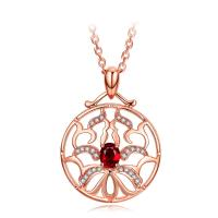 Quality Small Real Red Ruby Stone And Rose Gold Necklace With Diamond Surround wholesale