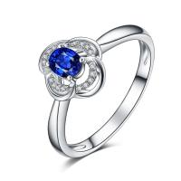 Buy cheap White Gold Gemstone Engagement Rings Blue Oval Sapphire Diamond from wholesalers