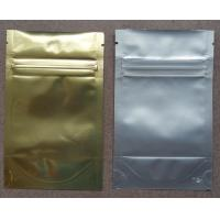 Aluminum Foil Zip Lock Bag Plastic Seeds Packaging , Golden / Silver
