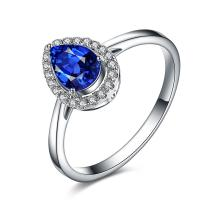 Buy cheap Blue Sapphire Engagement Rings White Gold , Pear Shaped Engagement Ring Pave Diamond from wholesalers
