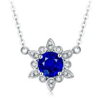 Quality 18k Solid Gold Real Gemstone Jewelry With Diamond Sapphire Mothers Necklace  wholesale