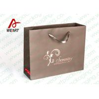 Quality Brown Custom Paper Shopping Bags With Bottom Cardboard Satin Ribbon wholesale