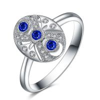 Buy cheap Real Blue Sapphire Diamond Ring With Three Stone White Gold Vintage Style from wholesalers