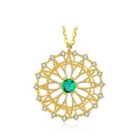 Quality Emerald Gemstone Circle Pendant Necklace Surrounded Diamonds Jewelry wholesale