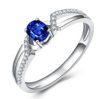 Buy cheap White Gold Engagement Rings With Sapphire , Custom Made Gems Surrounded Diamonds from wholesalers