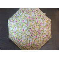Manual Open Transparent 3 Fold Umbrella Pink Flower Printed 21 Inch 8 Ribs