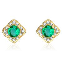 Cheap 18k Gold Emerald Green Fashion Earrings Jewelry With Cluster Diamonds for sale