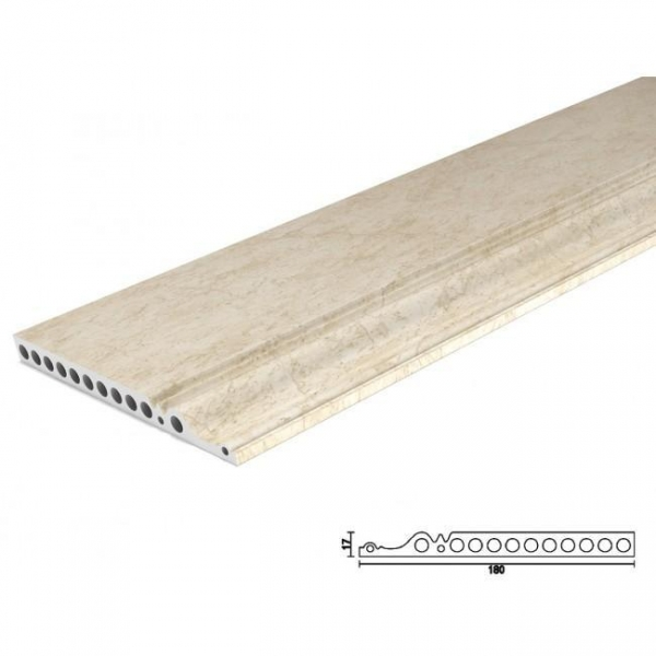 Cheap PVC Marble skirting Smooth 70g UV surface pvc baseboard moulding for sale