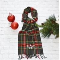 Quality Monogrammed Plaid Scarf - Charcoal Red & Green wholesale