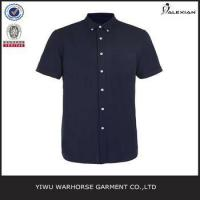 Quality Navy And Black Oxford Short Sleeve Casual Shirt wholesale