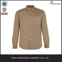 Quality Walnut Brown Oxford Long Sleeve Casual Shirt wholesale
