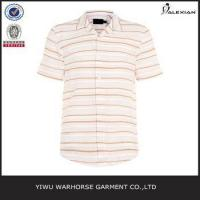 Quality Pink Stripe Revere Collar Short Sleeve Shirt wholesale